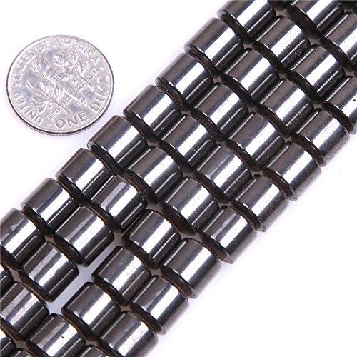 Black Hematite Beads for Jewelry Making Natural Gemstone Semi Precious 8x8mm Drum Magnetic 15