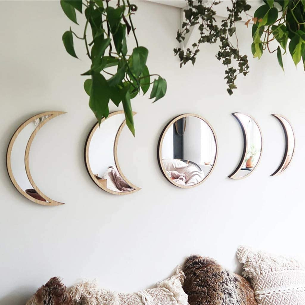 Scandinavian Natural Decor Acrylic Wall Decorative Mirror Interior Design Wooden Moon Phase Mirror Bohemian Wall Decoration for Home Living Room Bedroom Decor - No Need to Punch -5 Pieces(Beige)