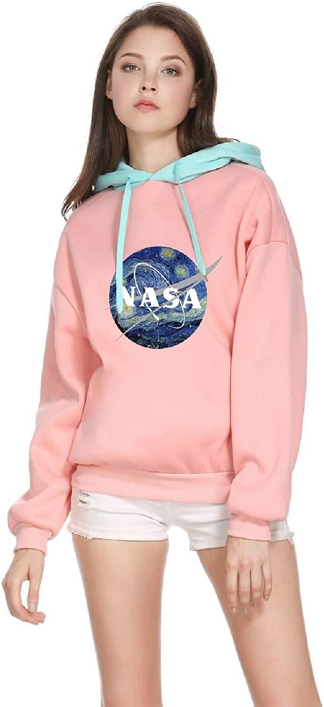 CORIRESHA Womens Color Block NASA Logo Print Drawstring Hoodie Sweatshirt
