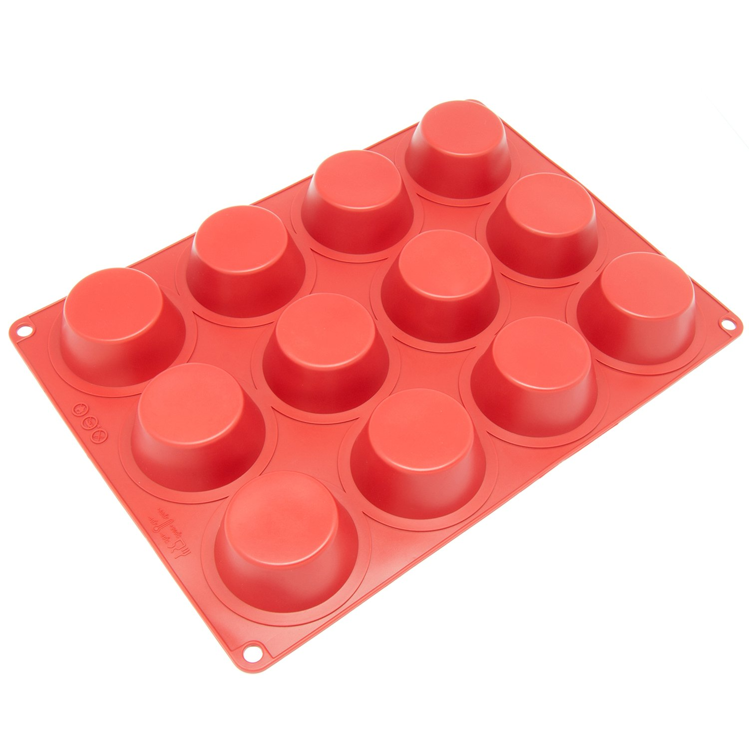 Freshware CB-100RD 12-Cavity Silicone Mold for Soap, Cake, Bread, Cupcake, Cheesecake, Cornbread, Muffin, Brownie, and More Inc