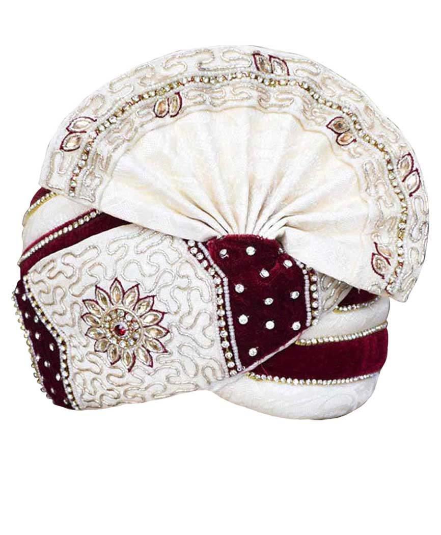 INMONARCH Mens Embroidered Wedding Turban pagari Safa Groom Hats TU1064 23-Inch Cream-Maroon