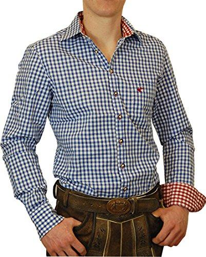 OS Trachtenhemd Leopold mit Kontrasten Slim Line in verschiedenen Ausführungen, Größe:Halsgröße 39/40 (M);Farben:blau