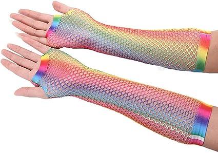 Guantes de malla para mujer con agujeros huecos y estampado de arco/íris Roydoa