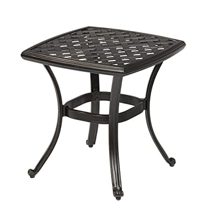 Amazon Com Hampton Bay Belcourt Metal Square Outdoor Side Table