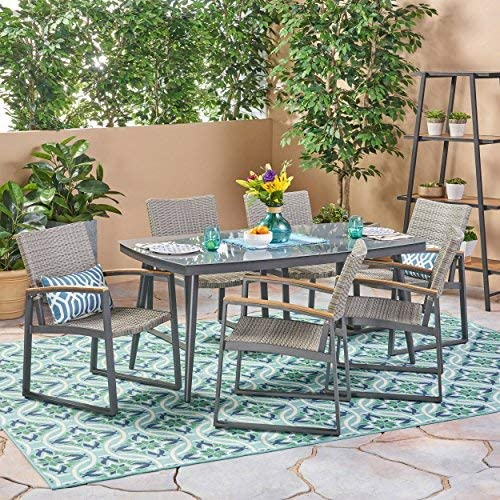 Christopher Knight Home Telly Outdoor 7 Piece Aluminum and Wicker Dining Set with Glass Top, Gray Finish and Gray