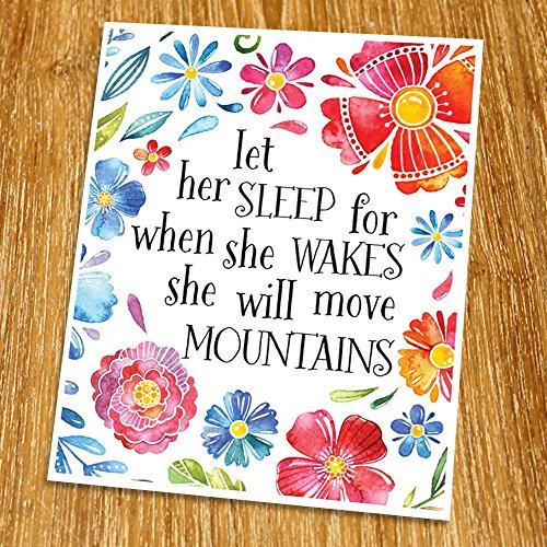 Let her sleep Print (Unframed), Baby shower Gift, Inspirational Print, Nursery Wall Art, Entrance Decor, Watercolor Flower, 8x10