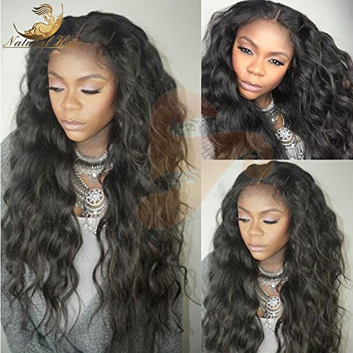 Dream Beauty Hair Body Wave Lace Front Wigs Brazilian Remy Human Hair with Baby Hair For African Americans 130% Density #1B Color (16'', lace frontal wig) by Dream Beauty