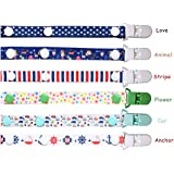 nuosen 6 Pack Pacifier Clips Adjustable Baby Dummy Holder Strap Teething Clip F
