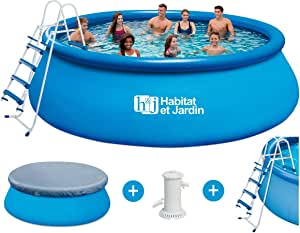 Piscina redonda transportable - Ø 4.57 x H 1.22 m: Amazon.es: Jardín