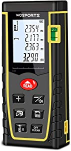 WOSPORTS Laser Measure, 196ft Laser Distance Meter with Bubble Level, 6 Units Transfer Room Measure Distance, Area, Volume and Pythagorean, Battery Included