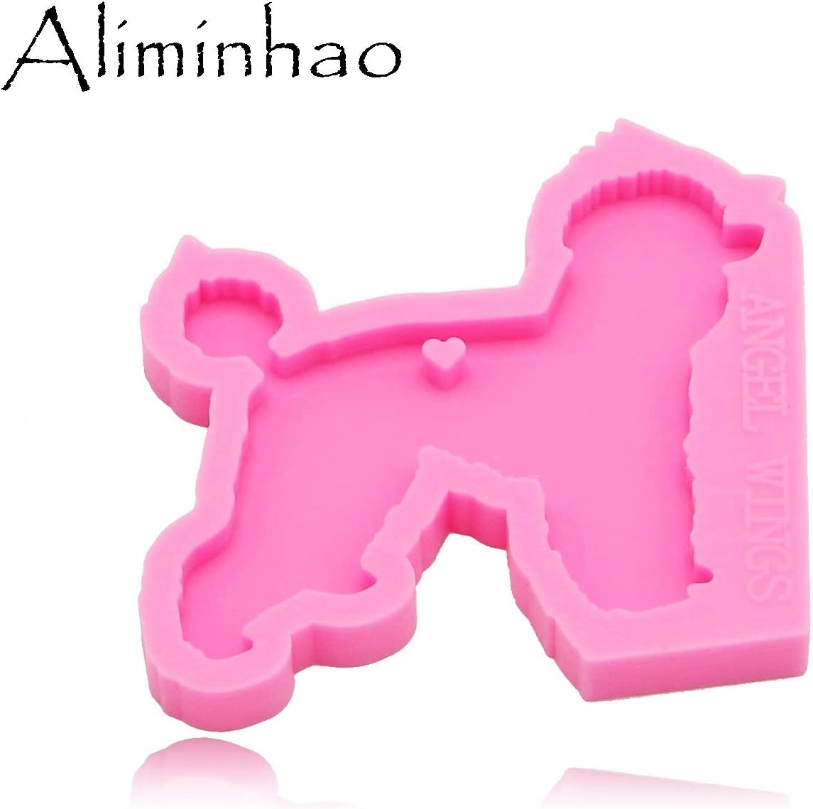 DY0128 Shiny Poodle Silicone Molds for DIY Key Ring epoxy Resin Mold Dog Craft Custom Keychain