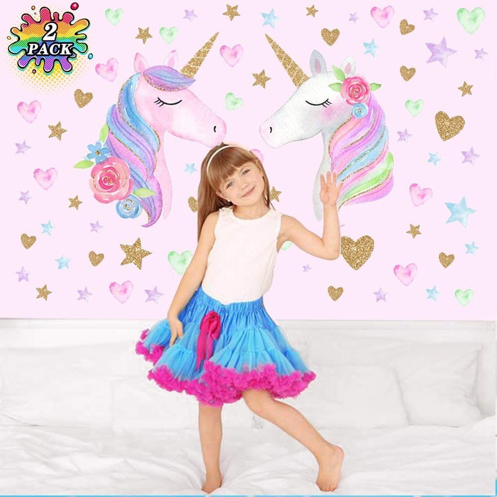 Amazon Com Toys For 3 12 Year Old Girls Unicorn Stickers Rainbow Wall Decor Decals For Kids Girls Rooms Unicorn Toy Gifts For 3 12 Year Old Boy Girl Girls Room Decorations For Bedroom Birthday