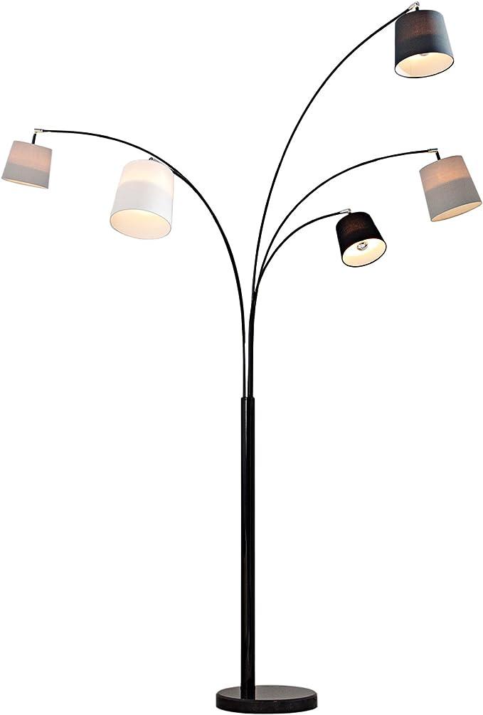 Design Bogenlampe LEVELS 200cm schwarz gold 5 Leinen Schirmen Stehlampe Stehleuchte Leselampe