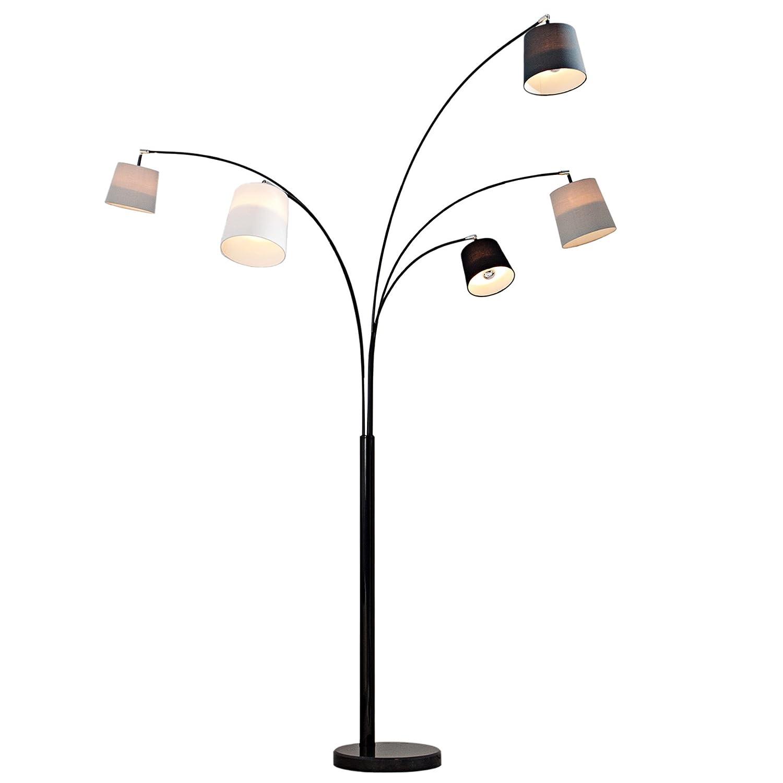 Design Bogenlampe LEVELS schwarz glänzend Marmorfuß Stehleuchte ...