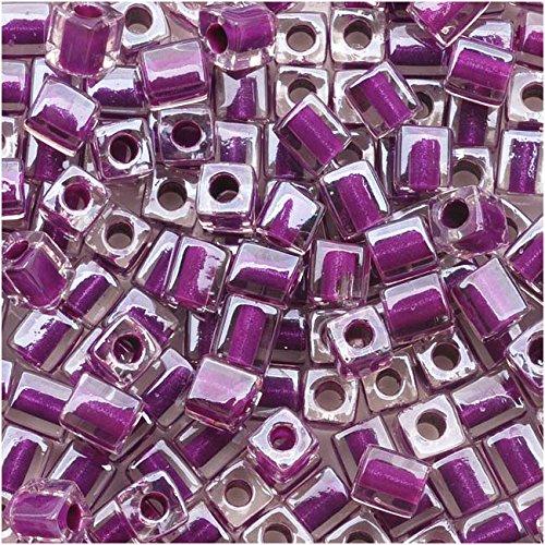 Miyuki 4mm Glass Cube Beads Purple Lined Crystal #243 10 ()
