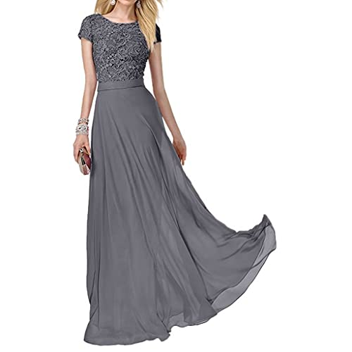 Charm Bridal Short Sleeve Chiffon Lace Women Party Ball Dress Long Prom Gowns