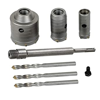 30-65mm SDS Wall Hole Saw Carbide Open Drill Bit Plus 220mm Shank Set for Cement