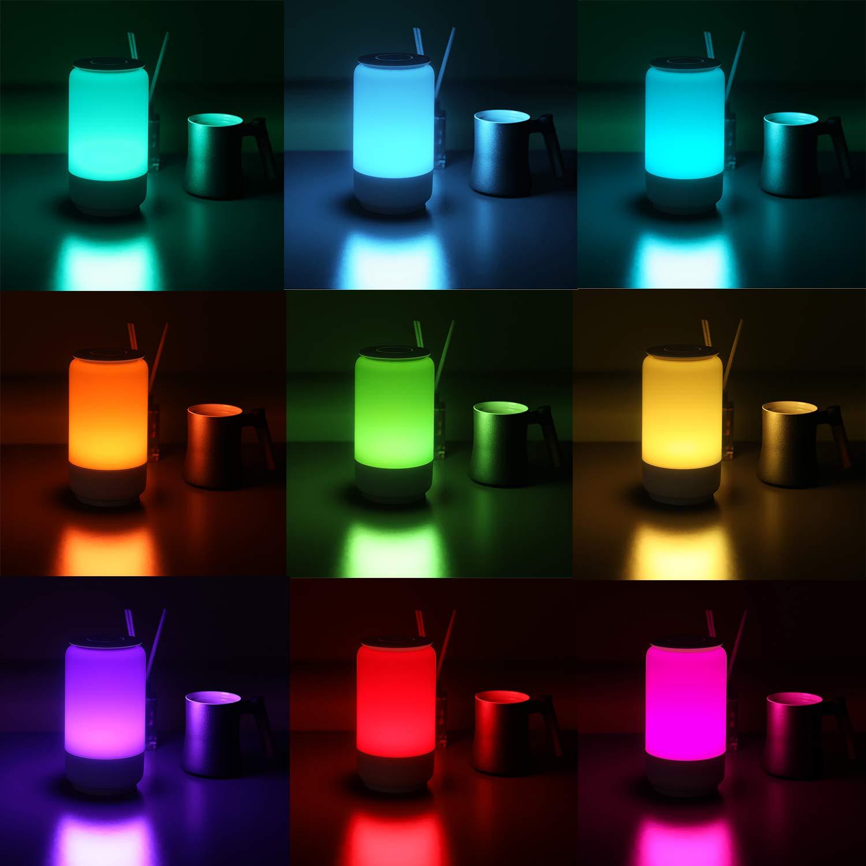 Lampe de Chevet HugoAI Lampes de table Luminosit/é et Couleur R/églables Veilleuse B/éb/é Veilleuse Nuit avec Panneau de Commande Tactile 360 Degr/és Blanc