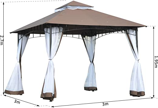 Outsunny Carpa Jardín o Terraza Color Café de 3x3m Cenador con ...