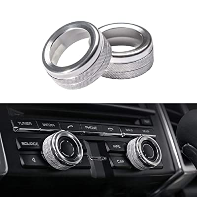 Thor-Ind Aluminum Centre Console Sound Volume Knob Cover for Porsche Panamera Cayenne Macan Boxster Cayman 911 718 Car Interior Multimedia Volume Knob Decorative Ring Cover Trim (Silver): Automotive