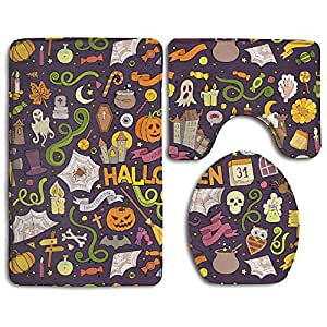 Colorful Halloween Set Non-Slip Bathroom Mat Set Lid Toilet Cover Pedestal Rug.