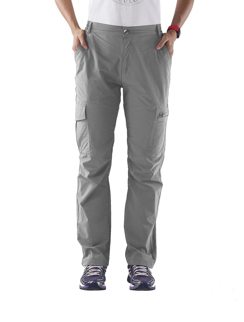 Nonwe Women's Outdoor Quick Dry Cargo Hiking Pants Light Gray L/32 Inseam by Nonwe