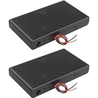 HALJIA 2 Stks 12 V AA 8 x 1.5 V Batterij Houder Case Plastic Batterij Opbergdoos met AAN/UIT Schakelaar Case Cover en…
