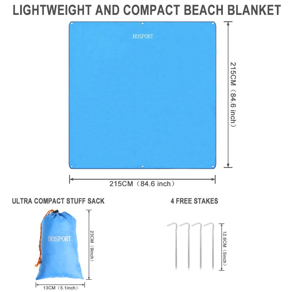 HOSPORT Beach Blanket Oxford Waterproof Picnic Blanket 84.6/'/' x 84.6/'/' For 4 People Portable Sandproof Blanket for Picnic,Beach,Hiking,Camping and Park etc Blue
