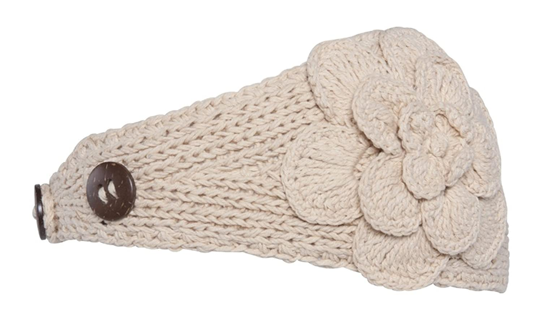 Womens Headwrap Flower Headband w/Button