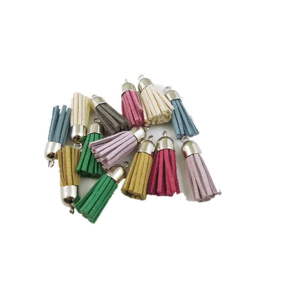GraceAngie 36pcs Colors of the rainbow Leather Tassel Charms Pendants