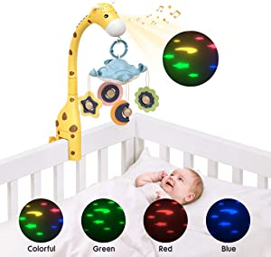 TUMAMA Giraffe Crib Mobile with Projection Lights and Music,Volume Down and Light or Music Off Control Freely,Auto-Sleep and Off,Bendable Tube Neck,Baby Mobile