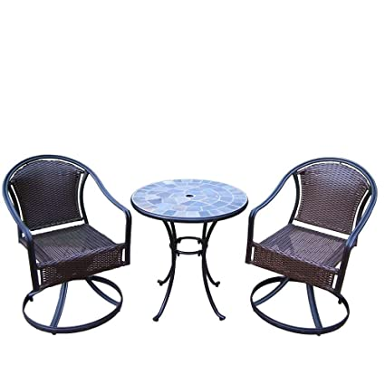 Outstanding Amazon Com Stone Art Tuscany 3 Piece Patio Swivel Bistro Caraccident5 Cool Chair Designs And Ideas Caraccident5Info
