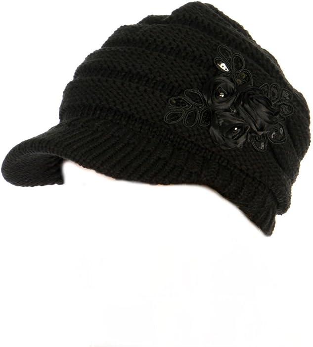 3e1ac975721 C.C Exclusives Women s Sequined Flower Knit Newsboy Visor Cap (Black) at  Amazon Women s Clothing store