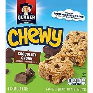 Quaker Chewy, Dark Chocolate Chunk Granola Bars, 8 Count (Pack of 6)