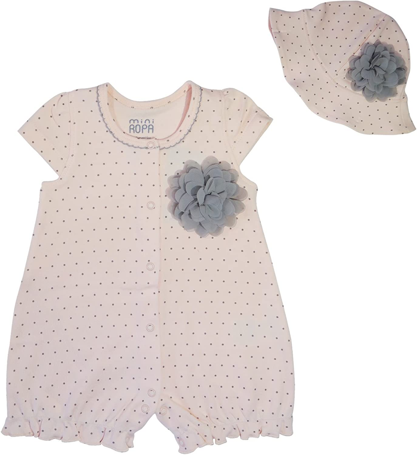 Mini Ropa Ultra Soft 100/% Turkish Cotton Baby Girls Breathing Romper Bodysuit