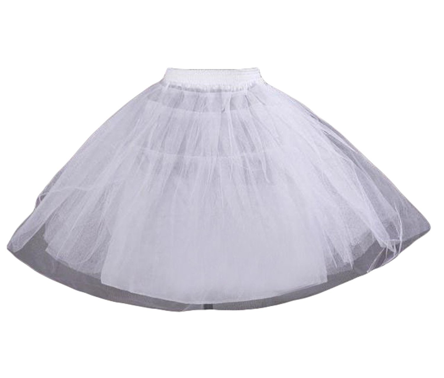 Dannifore Girl's White Short Crinoline Petticoats Slips Underskirt for Wedding Party Style6,OneSize