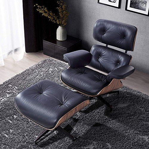 Lounge Chair with Ottoman, Mid Century Palisander Chair, 100% Grain Italian Leather Living Room Recliner with Heavy Duty Base Support Black