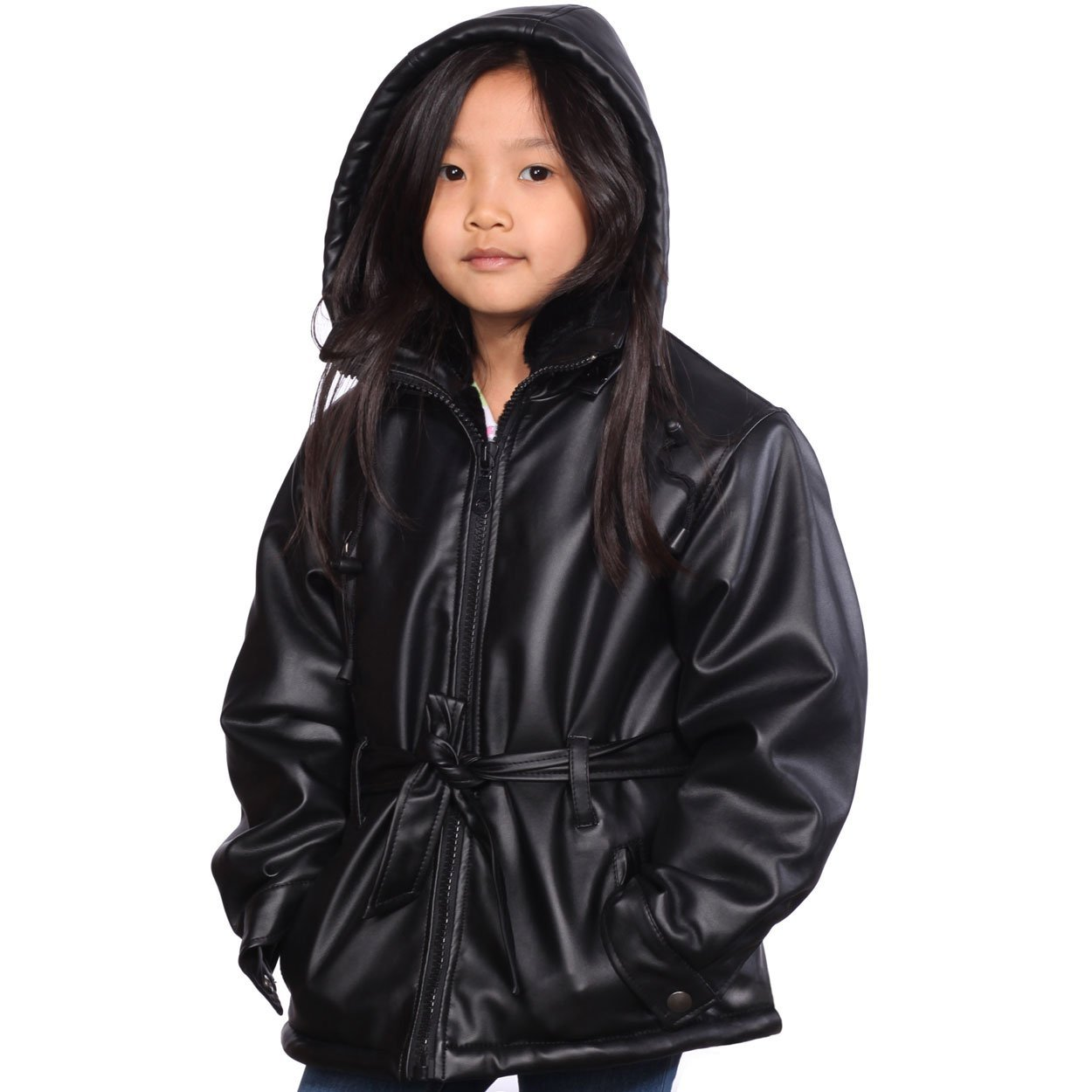 CLASSIC ¾ COAT IN LAMBSKIN WITH REMOVABLE HOOD