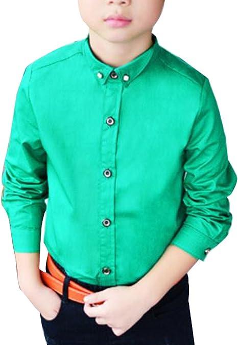 Camisa Manga Larga para Niños Formal Camisa Chico Fiesta Camisa Verde: Amazon.es: Deportes y aire libre