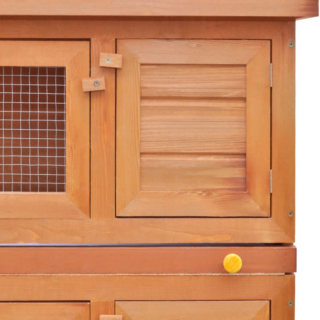 vidaXL 36'' Wooden Rabbit Hutch Bunny Cage Small Animal House Hen Poultry Cage 4 Doors by vidaXL (Image #4)