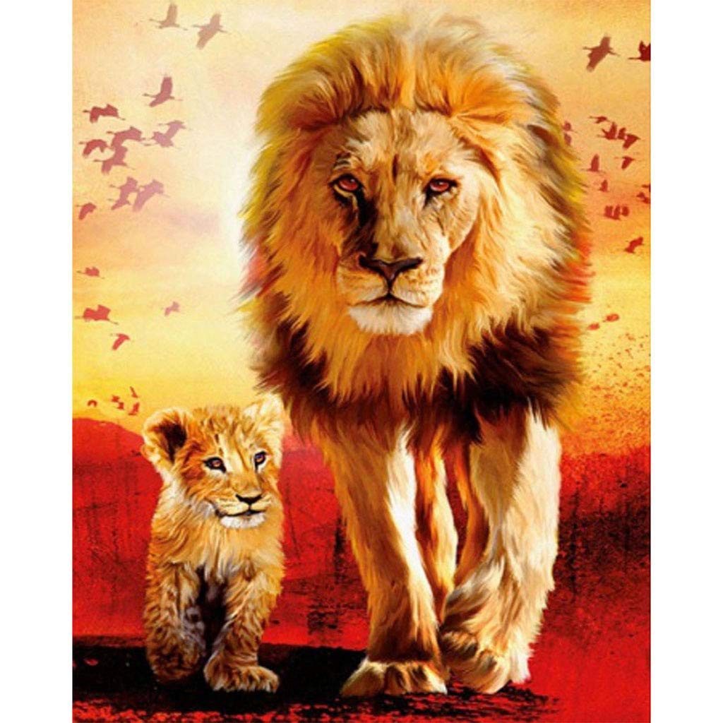 5D DIY Diamond Painting by Number Kit, Lion and its Children Crystal Full Diamond 12X16Inch. (Two Lions, 30X40CM)