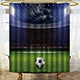 NALAHOMEQQ Grommet Shower Curtain with Printing/Colorful Fabric Shower Curtain/Home Decor Shower Curtain/Polyester Fabric Waterproof Mildew Resistant Shower Curtain Set With Hooks(Soccer stadium)