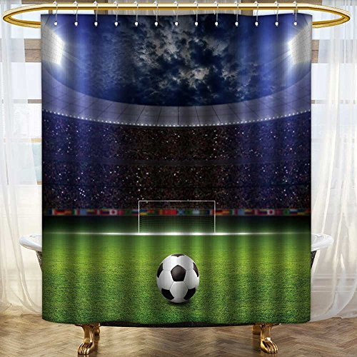 NALAHOMEQQ Grommet Shower Curtain with Printing/Colorful Fabric Shower Curtain/Home Decor Shower Curtain/Polyester Fabric Waterproof Mildew Resistant Shower Curtain Set With Hooks(Soccer stadium) by NALAHOMEQQ