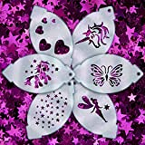 Glitter Body Art Face Paint Stencils - Girls Multipack of 6
