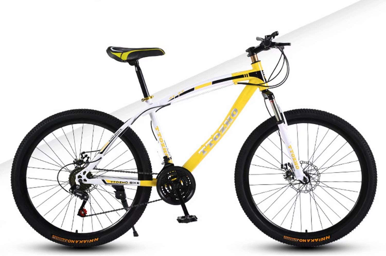 YKMY Mountain bike bicycle adult men and women variable speed bicycle double disc brake double shock absorption ultra light car