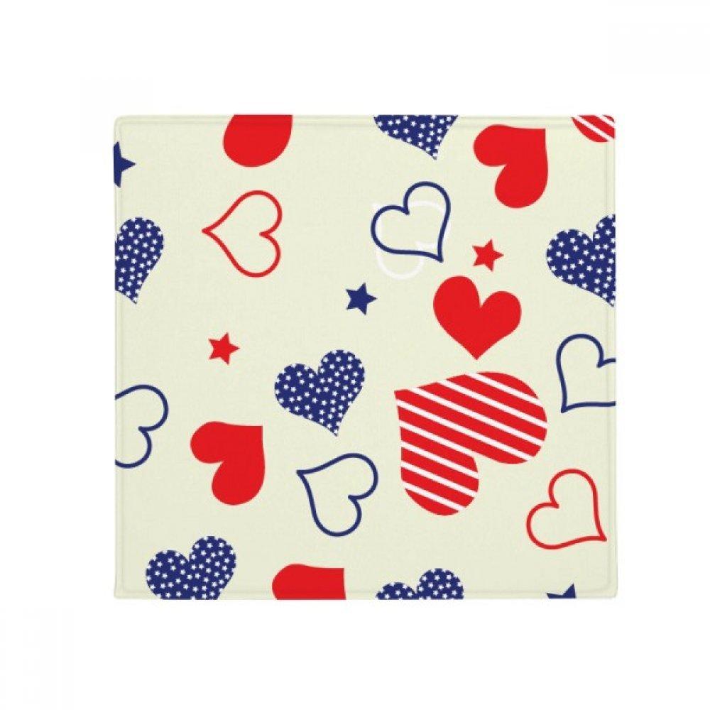 DIYthinker Red bluee Heart-Shaped Pentagram America Anti-Slip Floor Pet Mat Square Home Kitchen Door 80Cm Gift