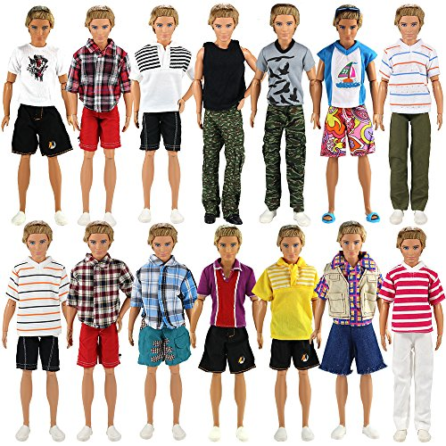 - BARWA Lot 3 Sets Fashion Outfit Clothes 3 Tops with 3 Trousers for 12 inch Boy Friend Doll