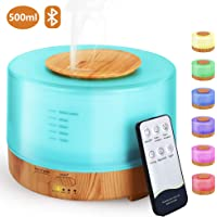 Hianjoo Aroma diffuser, 500 ml, luchtbevochtiger met timer, ultrasone aromatherapie diffuser, led met 7 kleuren, voor…