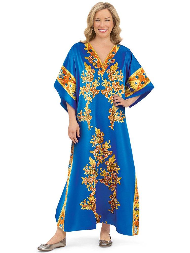 Women's Majestic V-Neck Long Short Sleeve Caftan Lounger, Royal Blue, OneSize