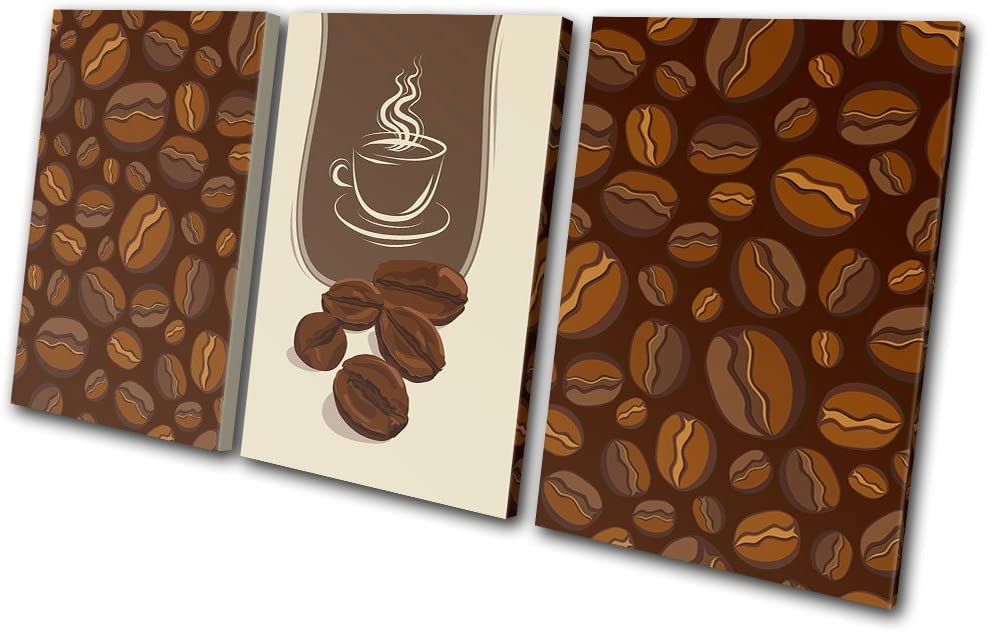 Bold Bloc Design - Food Kitchen Coffee Beans Design - 180x90cm Canvas Art Print Box Framed Picture Wall Hanging - Hand Made in The UK - Framed and Ready to Hang